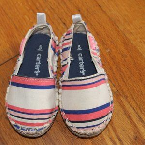 Carter's Stripped Canvas Girls Shoes 5